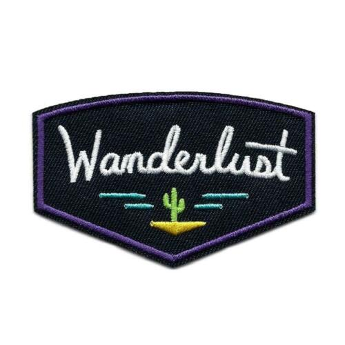 "WANDERLUST IRON ON PATCH 3.5/"" Wanderer Wander Outdoor Adventure Camping Explore"