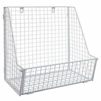 Modern White Metal Wire Wall Mounted Hanging Towel Basket / Freestanding Magazin on Sale