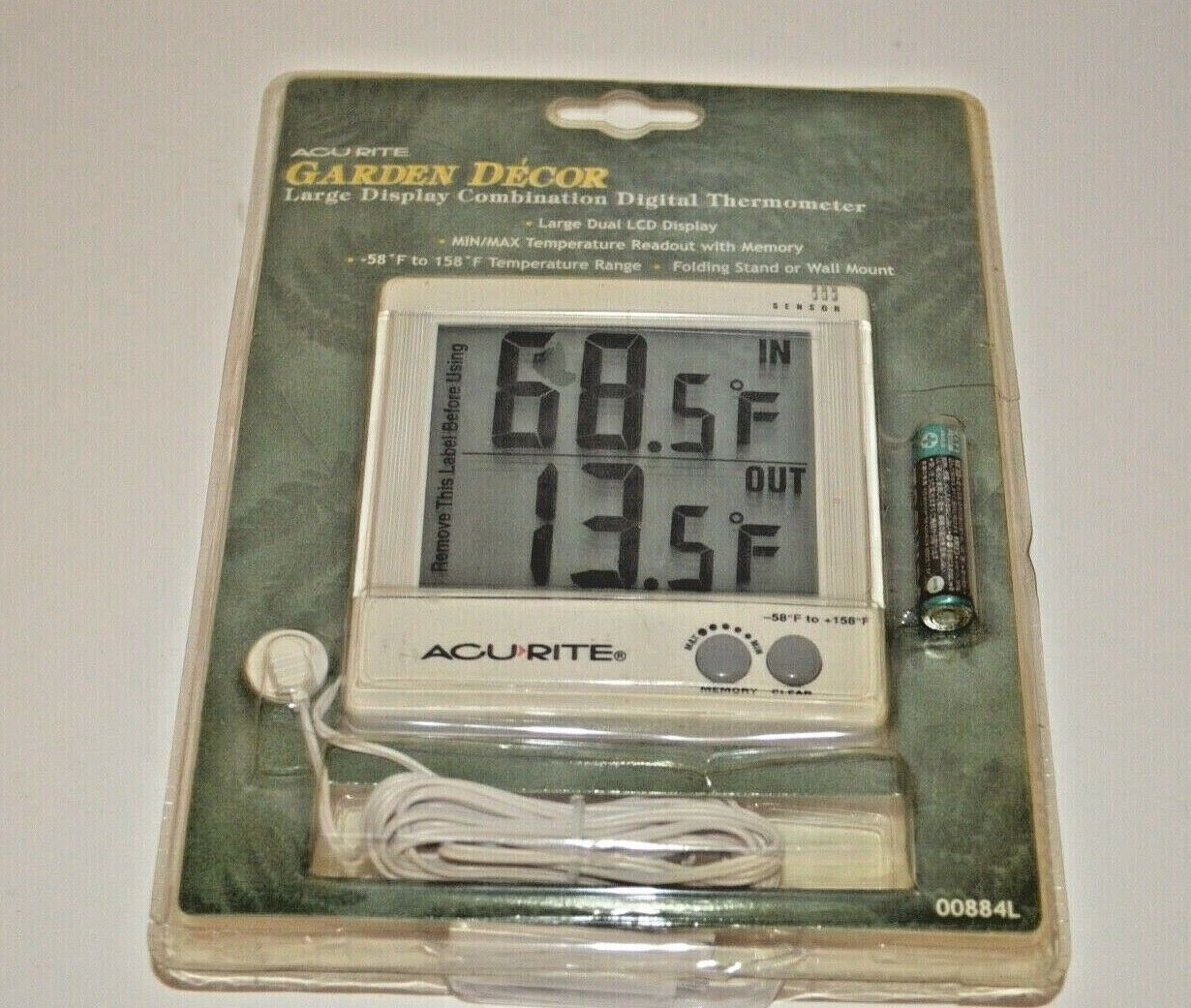 Acurite Garden Decor Large Display Combination Digital Thermometer 00884L
