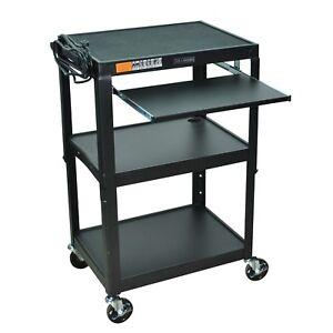 Mobile-Stand-Up-Computer-Desk-Workstation-Cart-Black-Steel