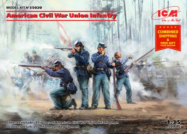ICM 35020 American Civil War Union Infantry Scale Plastic Model Kit 1//35