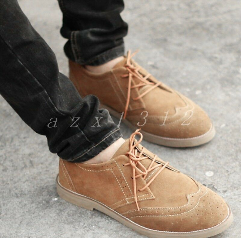 Mens Suede Brogue Carved Lave Up Flat Heel Casual Hot Stylish Casual shoes Size