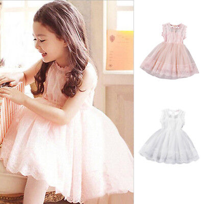 Kids Girls Princess Bridesmaid Pageant Tutu Tulle Gown Swing Party Wedding Dress