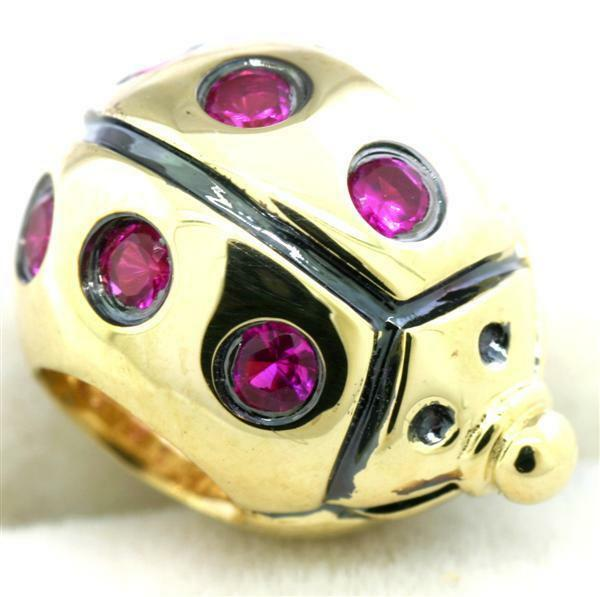 Lady Bug Ruby 9ct 375 9K Solid gold Bead Charm FIT EURO BRACELETS, 30 Day Refund