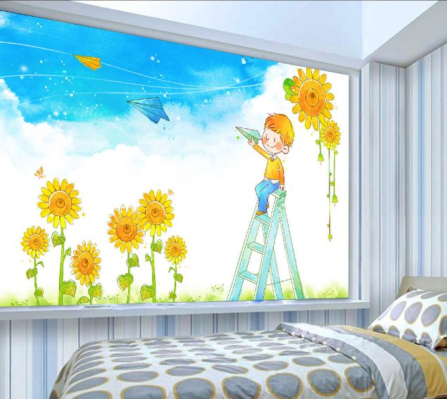3D Sunflower Anime Wallpaper Murals Wall Print Wallpaper Mural AJ WALL AU Lemon