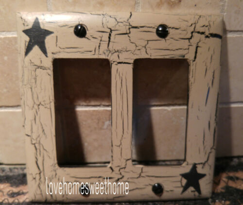 Primitive Crackle Tan /& Black Star Double GFI Paddle Switch Wall Plate