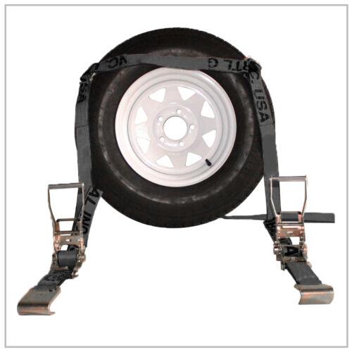 Car Hauler Ratchet Tie Down Straps Adjustable 4x Black Flat Bed Four