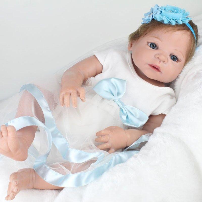 22  RINATO Baby Girl Full Body vinile in silicone Bambola Realistica Vestito neonato regalo un