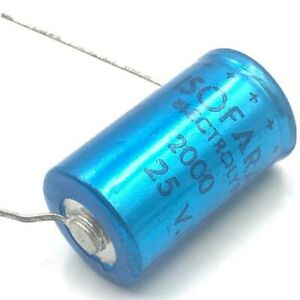 5 units ELNA 2000uF 2000µF  25V  BLACK-NEG  ce-w  Radial Electrolytic Capacitor