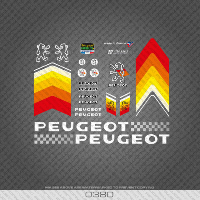 0370 Peugeot Bicycle Frame Stickers Decals Transfers