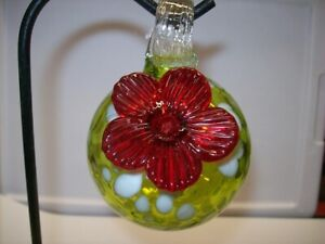 "Parasol ""Droplet"" (Lt. Green w/Dots) Mini Hand Blown Glass Hummingbird Feeder"