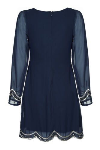 1920/'s Vintage Long Sleeve Chiffon Sequin Gatsby Flapper Cocktail Dress New 8-24