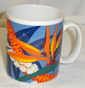 HILO HATTIE Hawaii Coffee Mug Bird of Paradise Flower Lot Set of 2