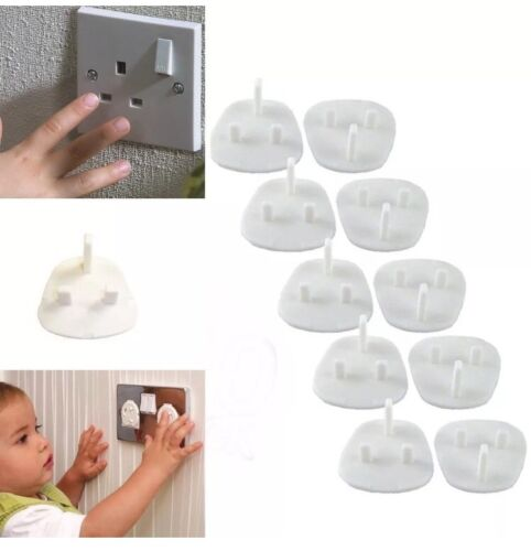 10x Safety Socket Covers Mains Electrical Plug Socket Safety Covers Child UK SLR