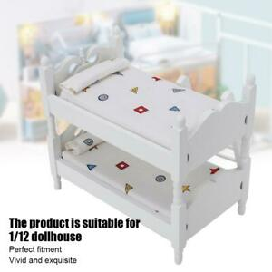 1-12-Mini-Dollhouse-Bed-Miniature-Simulated-Wooden-Bunk-Bed-Furniture-Model-Toy