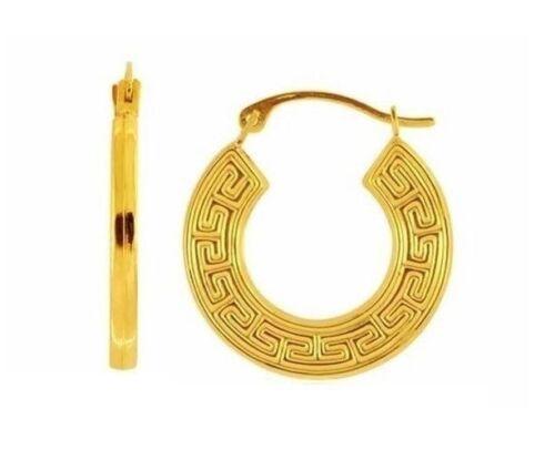 14K réel or jaune grec clé Hoops Boucles d/'oreilles Créoles