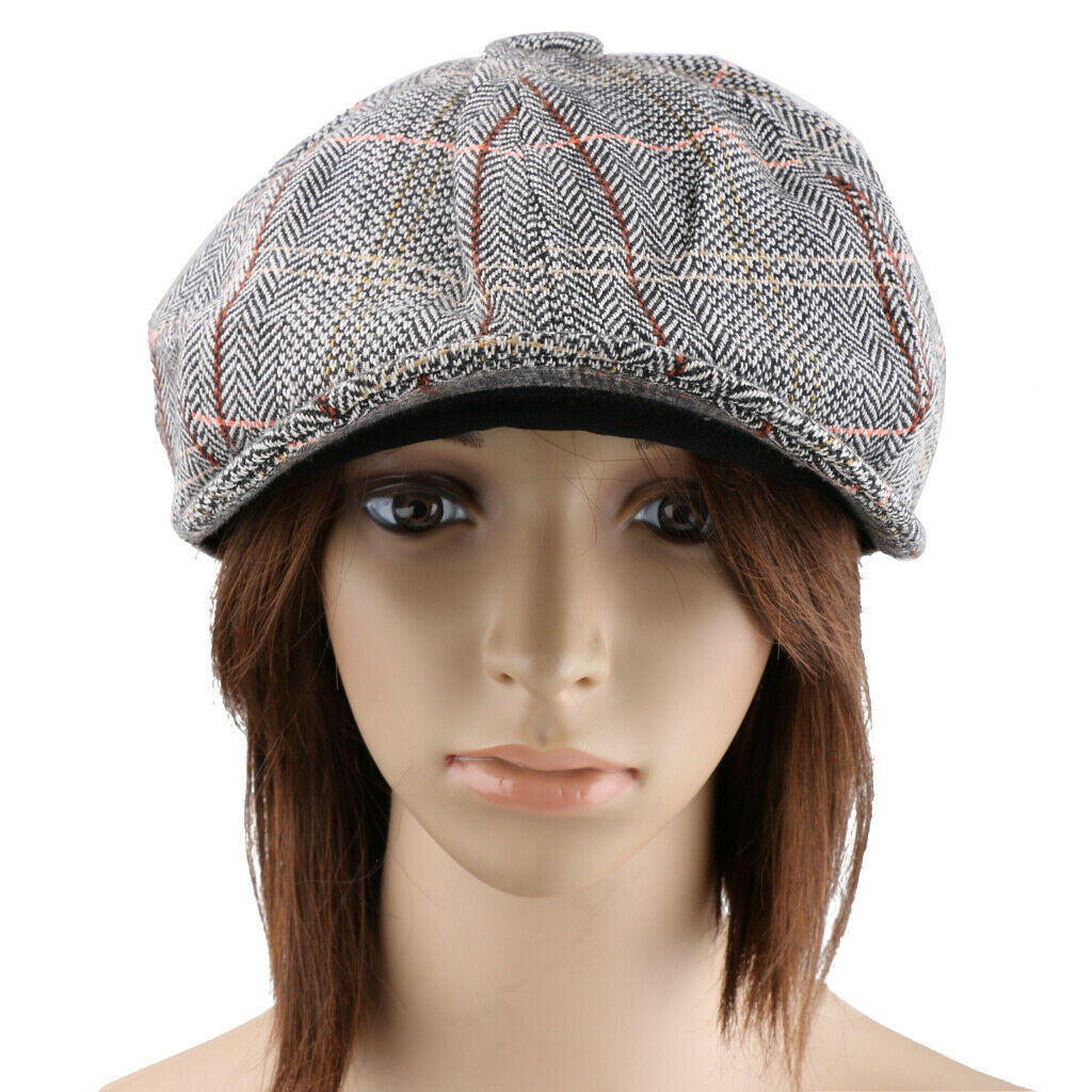 Herren Damen Tweed Mütze Hut flach 8 Panel Baker Boy Zeitungsjunge