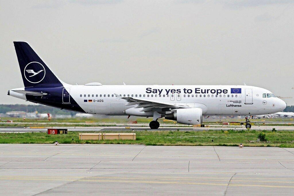 Jfox JFA320031 1 200 Lufthansa A320-214 D-Aizq Say Yes To Europe avec Support