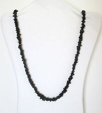 """Black Tourmaline Natural Chip Stones Beads Strand Necklace 34"""" Long. NWT  MBBT"""
