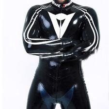2018 100/% Latex Rubber Bodysuit Catsuit Black And Transparent Size XXS-XXL