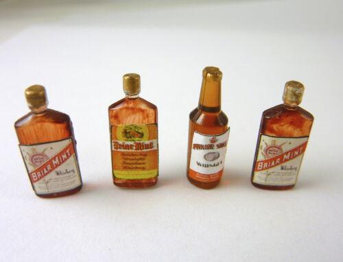 "Dollhouse Miniature Set of 4 Vintage Whiskey Bottles 3//4/"" FA40313"