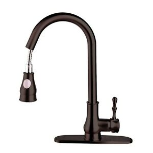 16 Kitchen Black Pull Out Spray Sink Faucet Swivel Spout Dispenser Bake