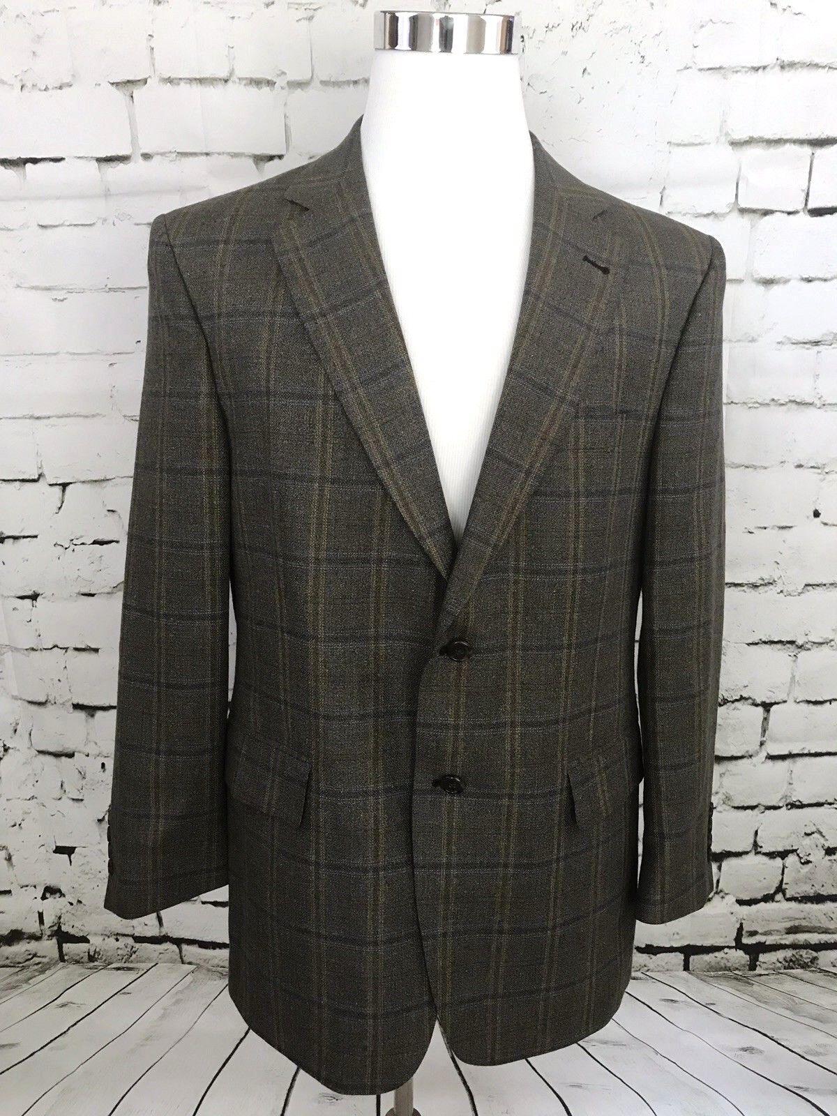 Jos A Bank Windowpane Blazer 42R Silk Wool 2 Button Signature Collection