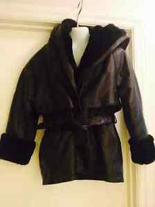 BMM 6x RARE & UNIQUE Leather Coat Jacket Belted Hooded Removable Liner Faux Fur
