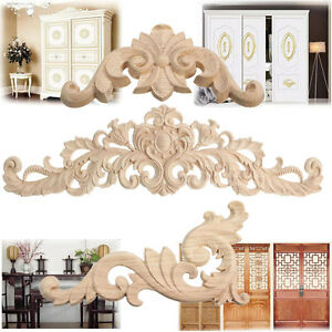 Decoration-de-meubles-en-bois-coin-sculpte-bois-Applique-cadre-Onlay-non-peint