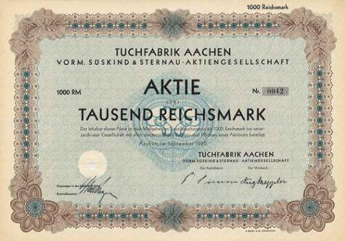 Tuchfabrik Aachen AG vorm. Süskind & Sternau histor. Textil Aktie 1929 NRW