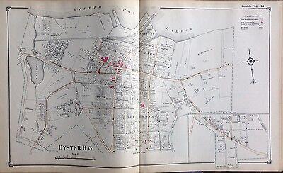 1914 ATLAS MAP OYSTER BAY MILL POND FLORANCE PARK NASSAU COUNTY LONG ISLAND NY
