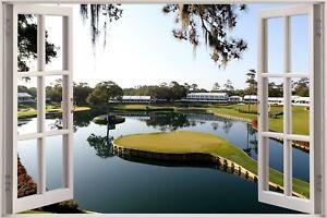 Huge-3D-Window-view-Golf-17th-green-sawgrass-Wall-Sticker-Mural-Wallpaper-1159