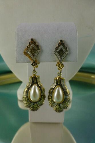 Stunning Vintage Damascene Dangle Earrings Faux Pe
