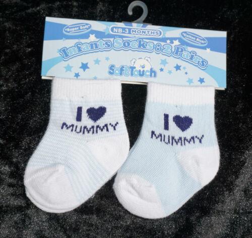 2er Set Socken Strümpfe Babysocken Erstlingssocken Geschenk I love Mummy Daddy
