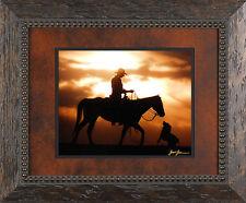 Western Cowboys Dog Sunset Solid Wood Framed Picture James Jones Photography
