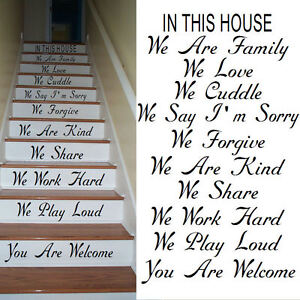 LARGE STAIR  RISER STICKERS SCRIPT FONT IN THIS HOUSE RULES WE ARE FAMILY LOVE