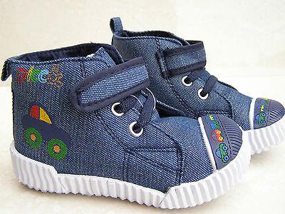 Bebé Niños Cuero Plantillas Jeans De Lona Calzado Zapatillas Vivero Cap Toes Tamaños 7 9