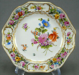 Carl-Thieme-Dresden-Hand-Painted-Reticulated-Floral-amp-Gold-Bread-Plate-H