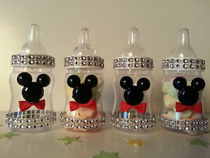 Image Is Loading 12 Mickey Mouse Fillable Bottles Baby Shower Favors