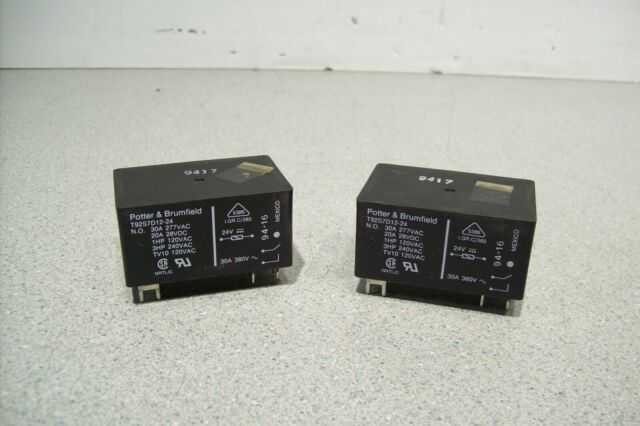 Lot of 10 24VDC, 30A Potter /& Brumfield T92S7D12-24 Electromechanical Relay