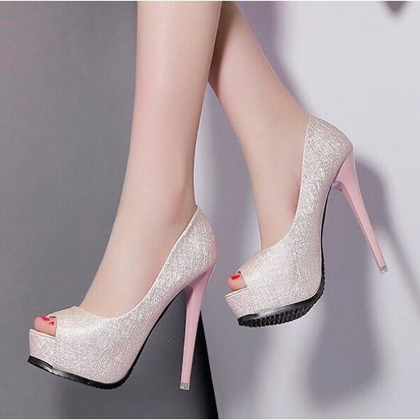 Zapatos de salón elegantes mujer mujer mujer alto talón 13 cm plataforma rosadodo abierto como  ventas de salida