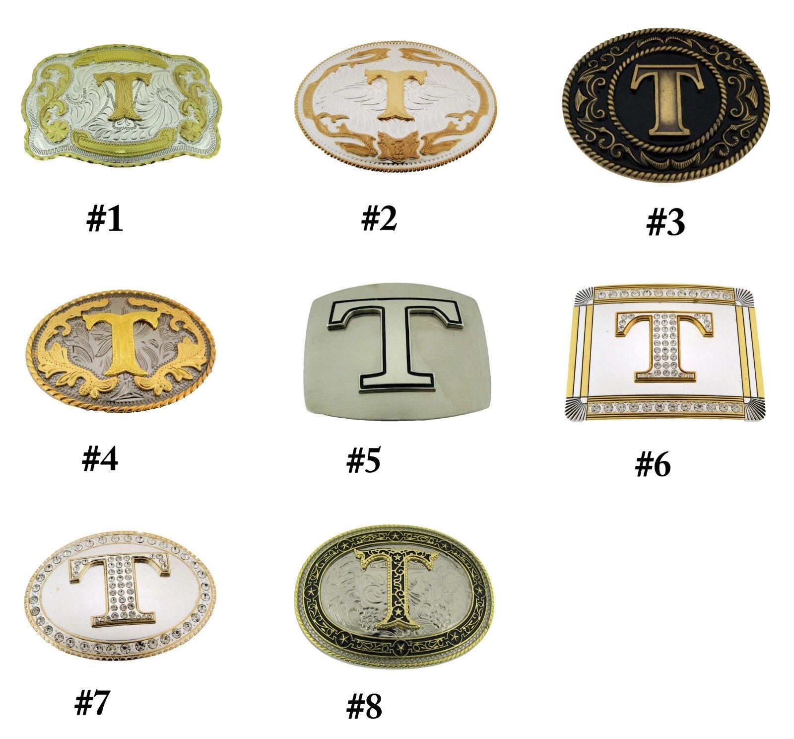 Erste Brief T Gürtelschnalle Alphabet T Monogramm Western Cowboy Stil Neu Rodeo