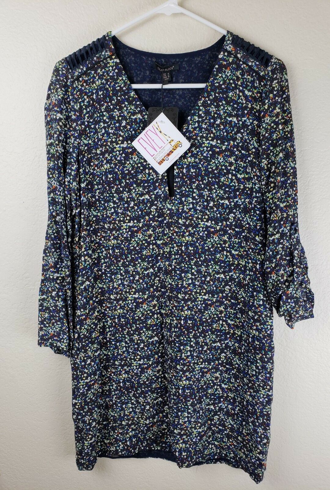 Woherren Farbeblock Evey K Tunic dress Spotted Dot Größe  Medium Free Shipping