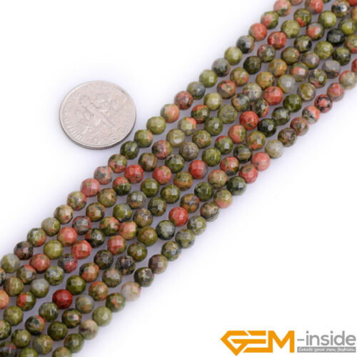 """Natural Green Unakite Gemstone Faceted Loose Round Beads For Jewelry Making 15/"""""""