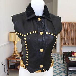 GIANNI-VERSACE-black-cowgirl-leather-vest-gold-studs-fur-collar-1993-bondage