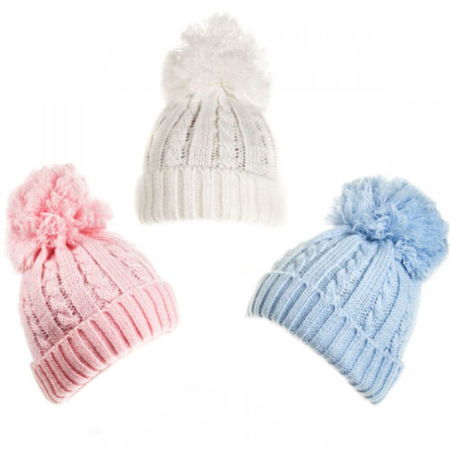 Baby Boys Girls Knitted Hat Pom Pom Winter Pink Blue White Newborn-12M
