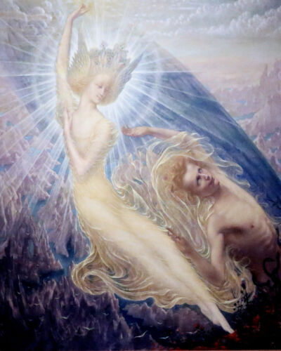 Jean Deville Angel of Splendor Surrealism William Blake Real Canvas Art Print