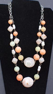 """Neue Mode Vintage Gestempelt Bijoux Terner Orange Beige Kunststoff-perlen 2 Strands 25 """" Exquisite Handwerkskunst;"""