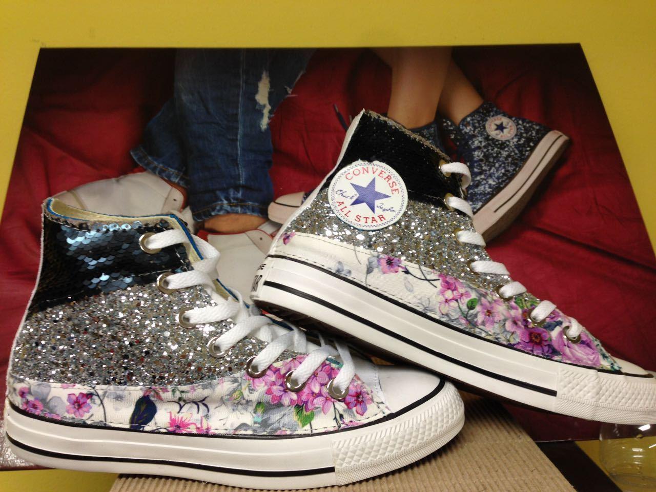 Converse all star star star  con paiette,glitter silver e fiorato 9a4dbe