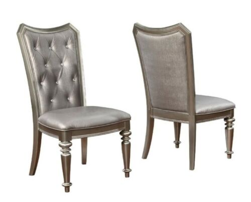 Set of 2 Danette Metallic Upholstered Dining Side Chair by Coaster 107312